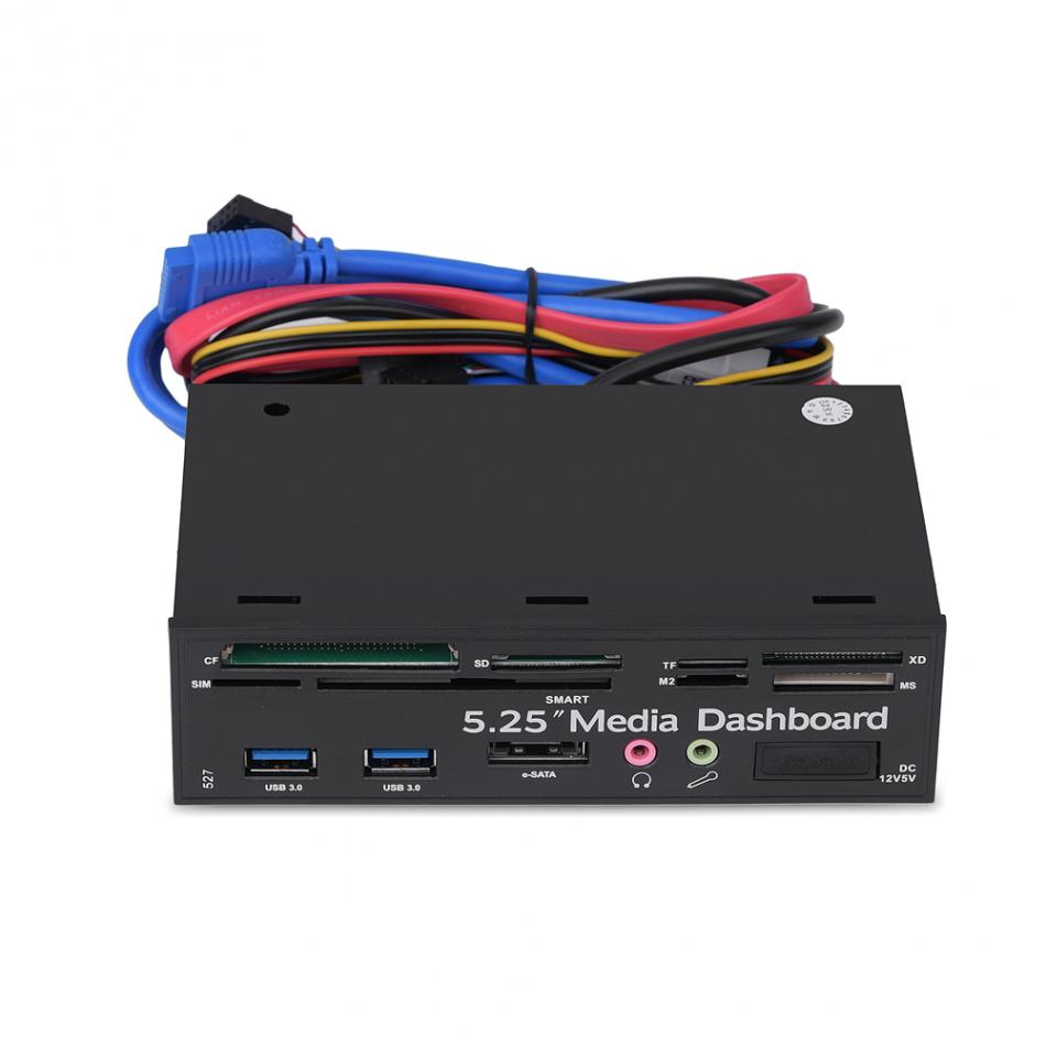 5.25inch PC Multifunction Media Dashboard USB3.0 e-SATA Power Port Audio SIM/SMART Multi Card Reader supports M2/TF/SD/XD/MS/CF