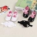 Крещение новорожденных детской обуви в сентябре голову от младенцу детская обувь для новорожденной девочки сначала ботинки ходока PU + повязка на голову
