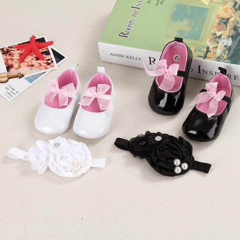 Dåb på nyfødte babysko i september hoved Fra baby barnesko babysko til nyfødte pige First Walker Sko PU + pandebånd