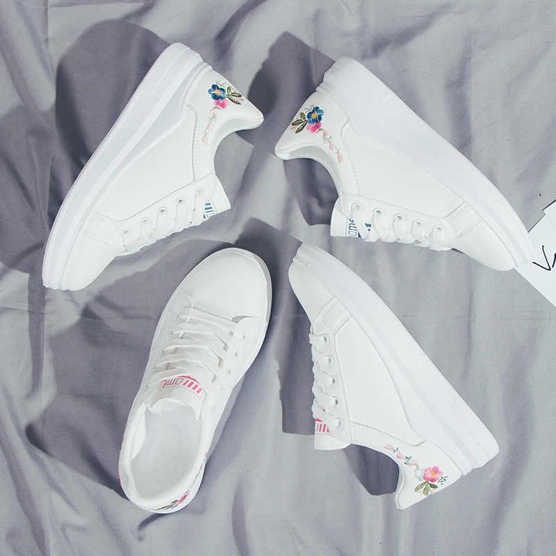 Kadın rahat ayakkabılar Bahar Kadın Moda Işlemeli Nefes Hollow Dantel-up Kadın Ayakkabı vulkanize ayakkabı hjm89