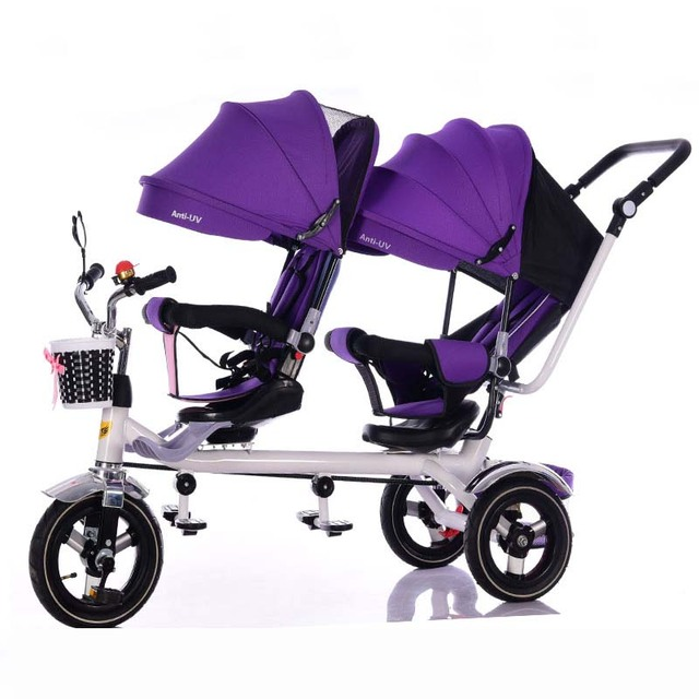 High Quality carbon steel frame twins tricycle 3 air filled rubber wheel double seat tricycle with rotation seat