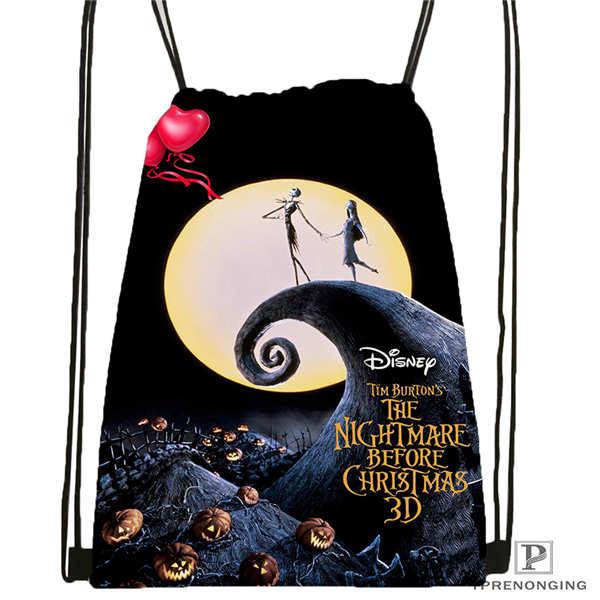 Custom HThe-Nightmare-Before-Christmas  Drawstring Backpack Bag Cute Daypack Kids Satchel (Black Back) 31x40cm#180612-02-35