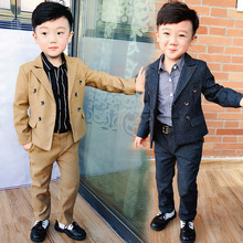 boy suit  2018  new autumn winters double-breasted children suit Fashion kids clothes boys  Boys outfits boys clothing  ALI 332 цены онлайн