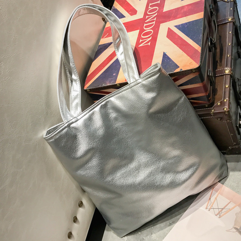 Simple Silver Women Large Tote Shoulder Bags Female Casual Solid Pu Leather Ladies Handbags Soft Big Shopping Bag Bolsa Femme casual women leather handbags bucket shoulder bags ladies cross body bags large capacity ladies shopping bag bolsa 6 colors