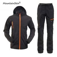 Mountainskin 4XL מעילי Windproof עמיד למים סט של יבש גברים מהירים מכנסיים גברים מכנסיים מזדמנים סלעית של מותג חליפת גברים LA583