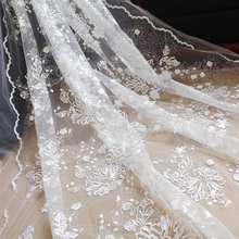 White black sequin embroidery lace wedding dress fabric  DIY decoration materials curtain