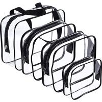 4 Pieces Make up Bags Travel Toiletry Bag Organizers for Traveling, Business Trip and School, Water Proof (Black + transparent