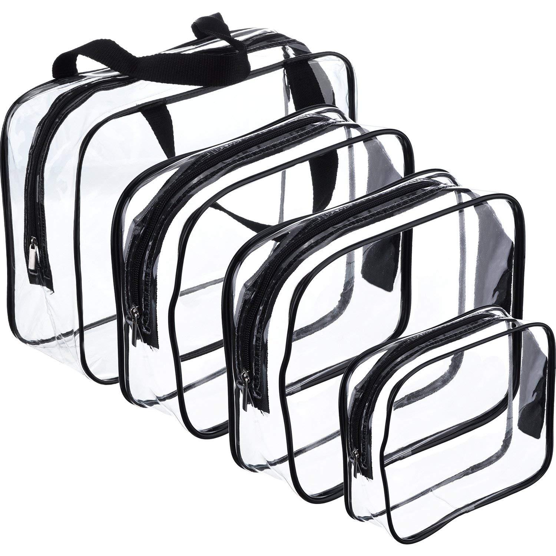 4 pièces sacs de maquillage voyage trousse de toilette organisateurs pour voyage, voyage d'affaires et école, imperméable (noir + transparent