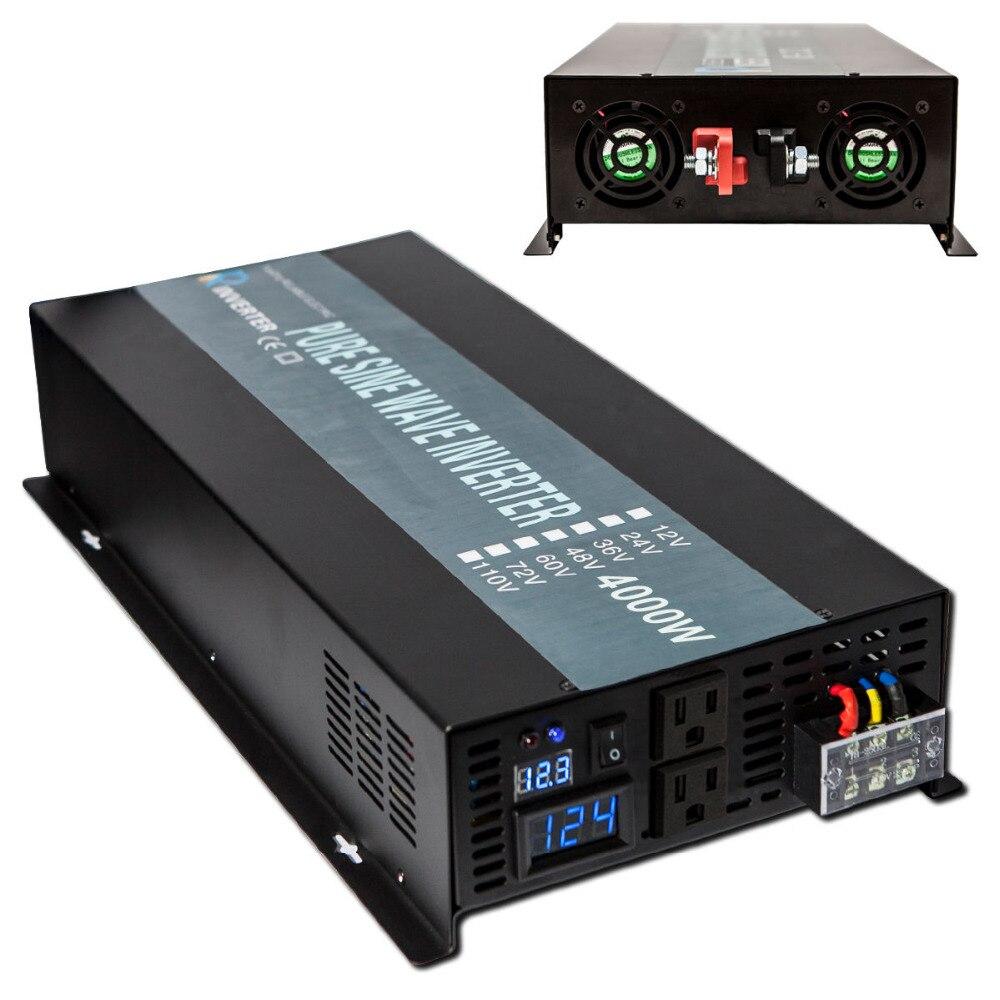 8000W Peak 4000W Solar Inverter Pure Sine Wave Inverter Car Power Inverter 12V/24V to 120V/220V/240V DC to AC Voltage Converter