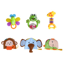 6 PCS/SET Safety Material ABS Plastic Rattle 0-12 Months Newborn Baby Toy Infant Teether Baby Handbell Mobile In Original Box