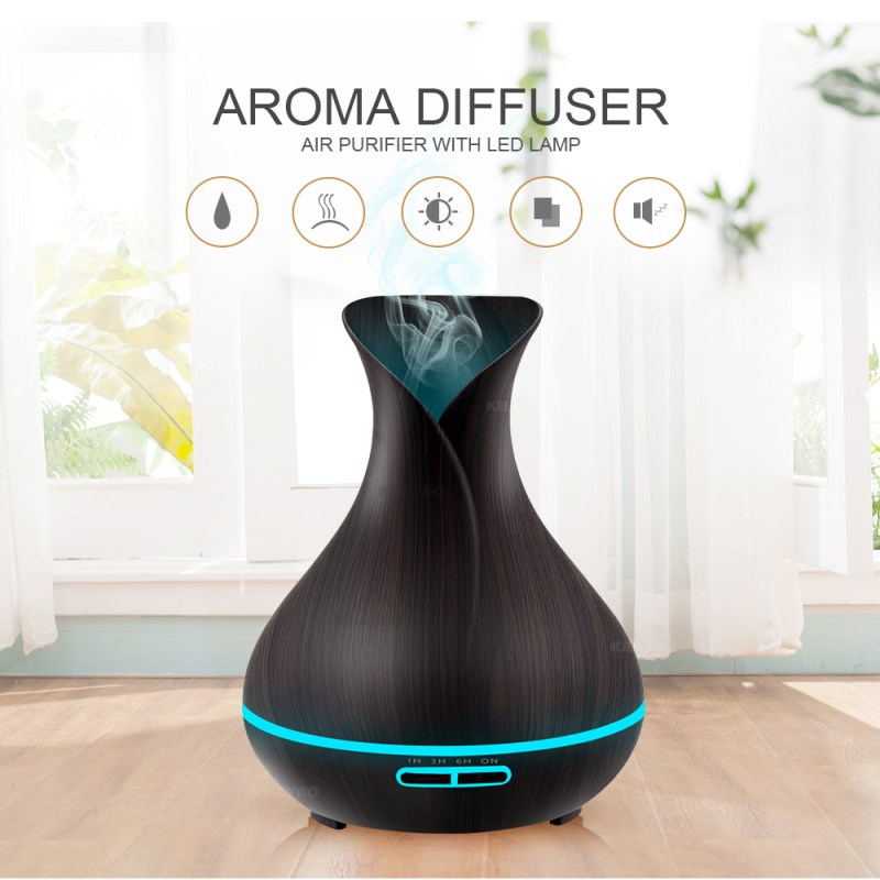 все цены на 400ml Air Humidifier Essential Oil Diffuser Aroma Lamp Aromatherapy Electric Aroma Diffuser Mist Maker for Home 7 LED Light в интернете