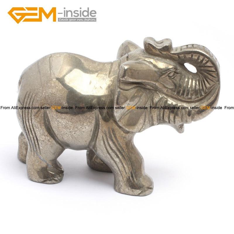 Gem-inside forme de crâne naturel & éléphants pour paracor argent gris Pryite décoration 4 pouces 1 pièces pour femme homme enfants cadeau - 3