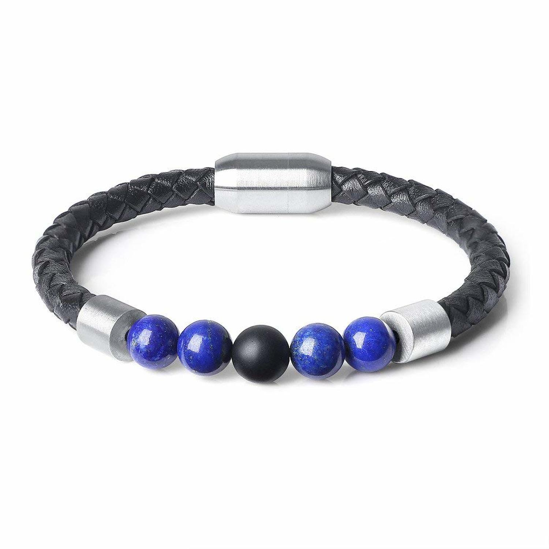 QIDISI 2018 Fashion Charm Men Leather Stainless Bracelet Lava Chakra Tiger Eye Howlite Stone Beads Bracelets & Bangles For Men J 5