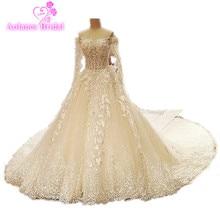 2017 Valódi képek magas minőségű luxus csipke applikációk kristályok Royal vonat esküvői ruha hosszú ujjú Ball Gown esküvői ruhák
