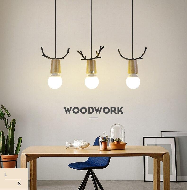 Nordic Antler Wood Pendant Lights Modern Northern American Art Decor Wrought Black Oak Pendant Lamp For Kids Dining Room Living (1)