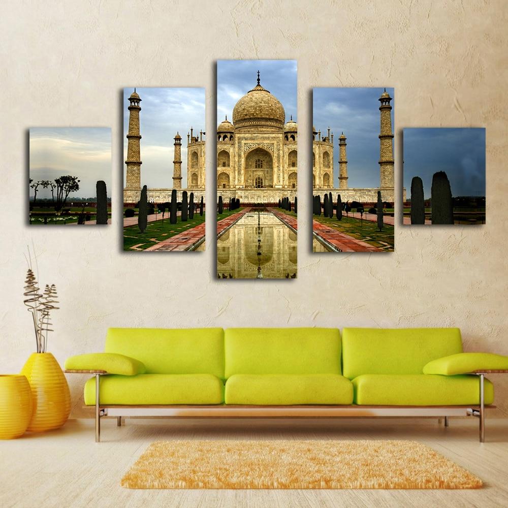 5 Piece Home decor art Modern city classical building Taj Mahal ...