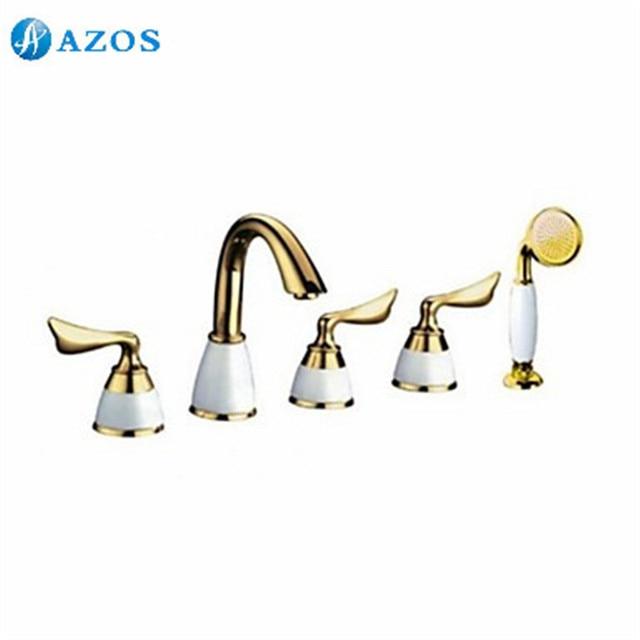 Bathtub Shower Faucets Golden Bathroom Suana 5pc Sets Showerhead,Diverter,Two Handles,Shower Hose,Waterfall Spout YGWJ076