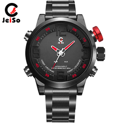 JeiSo Mode Herren Uhr Dual Digital Led-anzeige Männlichen Armbanduhr Datum Woche Quarz Edelstahl Armee Sport Uhren rot