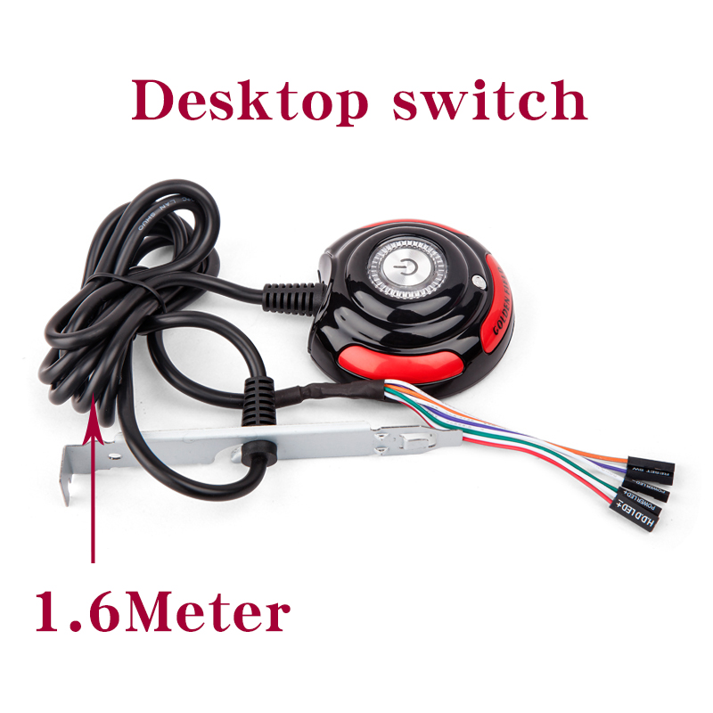 Computer Desktop Power On / Off Reset HDD Button Switch Cable Interrupter Home Office Internet Cafes Main Chassis Boot Button In  1 6m desktop computer pc case power supply on off reset hdd push button switch cables interruptor home office internet accessory