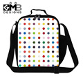 Kids Thermal Insulated Lunch Bags Colorful Dots Print Meal Package Children Picnic Lunch Box Waterproof Square Food Bags