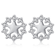 Trendy shiny cz zircon star 925 sterling silver lady stud earrings jewelry for women anti allergy wholesale cheap gift