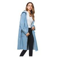 Moda damska Denim Trench Cardigan Płaszcz Dziewczyny Mody Pani Nowe Eleganckie Długie Płaszcze Z Kapturem Luźne Casual Coat (Światło niebieski, One S