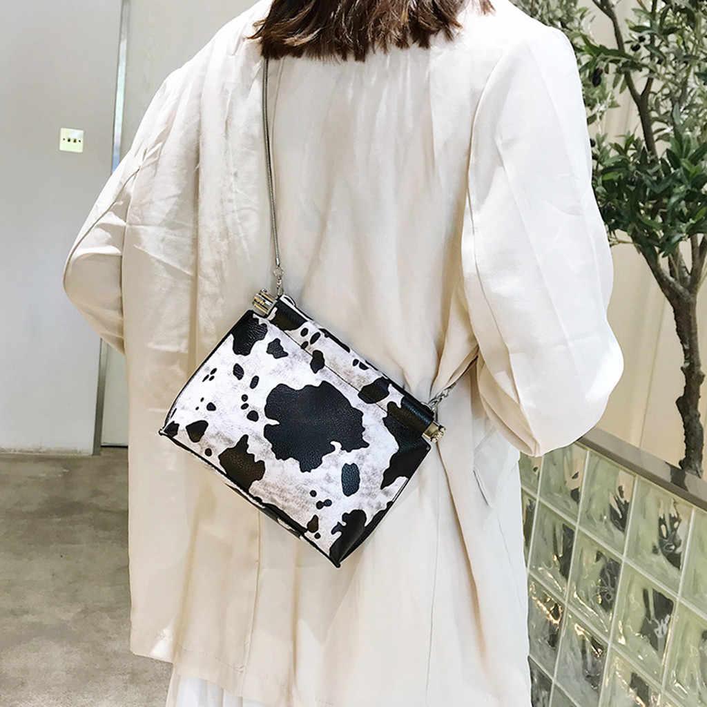ISHOWTIENDA kadın çanta kadın çantası çile vahşi inek desen omuz zinciri küçük kare çanta tek postacı çantası bolsa feminina # g3