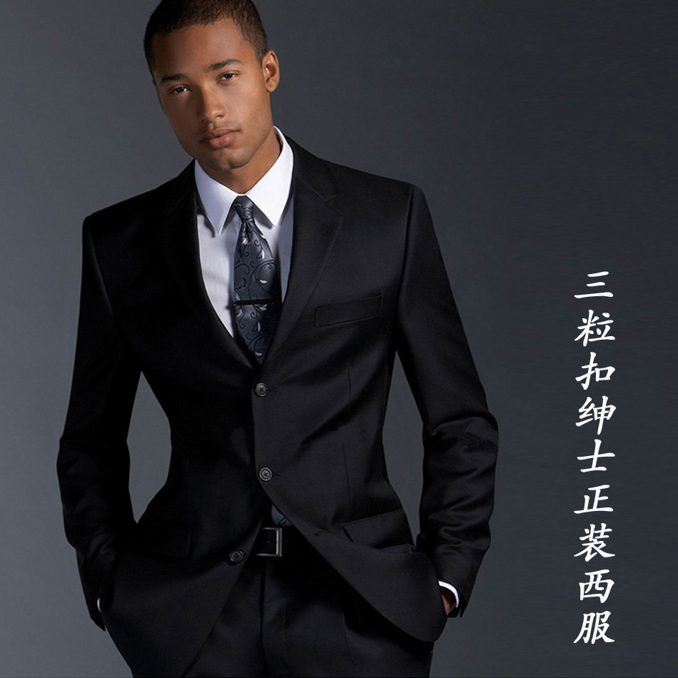 Prom poll! Black-male-three-button-commercial-blazer-set-slim-formal-groom-male-suit