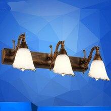 Pastoral Europea Vintage de vidrio de hierro flor Led E14 * 1/2/3/4 cabezas espejo de luz para baño dormitorio pasillo pared iluminación 1036