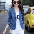 2016 New Korean Women's Long Sleeved Denim Jacket Single Button Fashion Suit Dress Denim