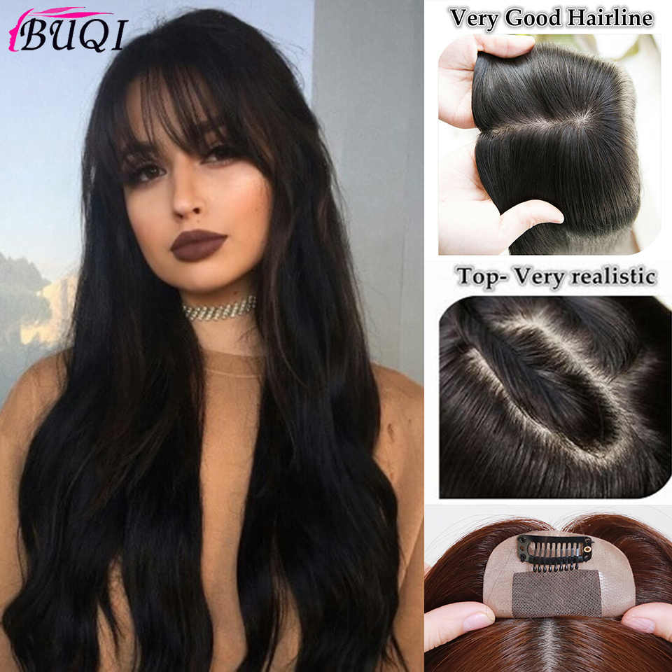 Buqi Adult Women/Man Toupee with Bangs Straight Hair Human Hair Material Hand-made Topper Hairpiece Top Piece Hair Accessorics