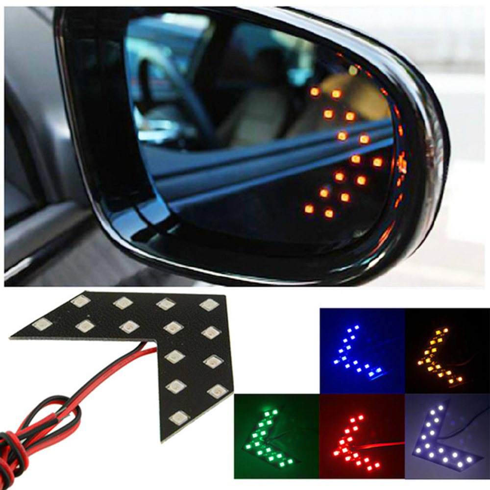 2 Pcs/lot 14 SMD LED Arrow Panel For Car Rear View Mirror Indicator Turn Signal Light Car LED Rearview mirror light 1pcs universal car amber arrow panel yellow 14 smd led car side mirror rear view indicator turn signal light lamp