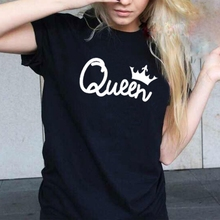 Women Queen King Letter Print Short Sleeve T-Shirt Couple Top Family Tee Shirt