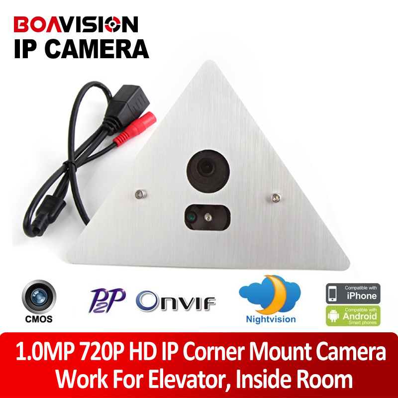 H.264 720P HD 1.0MP 3.6mm Angle View Tri-Angle Array IR Elevator IP Corner Mount Camera Support Onvif P2P