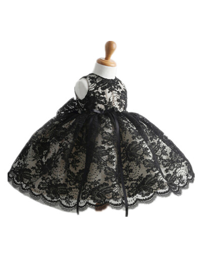 BABY WOW Black Lace Baby ClothesGirl Dresses Vestido Infantil for 1 Year Birthday Christmas Wedding Party