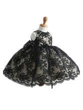 ДЕТСКИЕ WOW Черный Кружева Ребенка ClothesGirl Платья Vestido Infantil 1 год День Рождения Свадьбы Рождество для Детей Одежда 8098