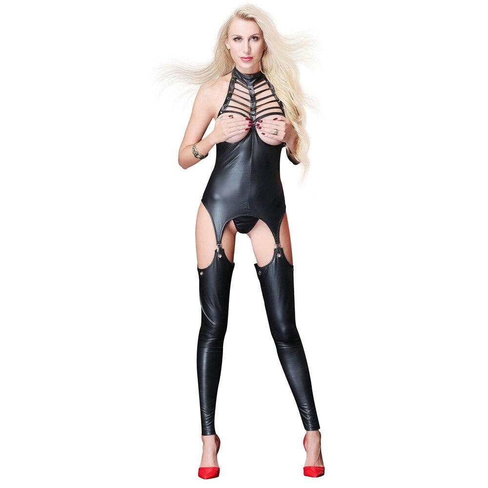 Buy open crotch open bra light halter Hollow Tighten perform erotic body sexy lingerie porno latex catsuit bodystocking lenceria