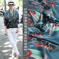 European and American style fashion color key printing silk stretch satin fashion fabric silk cloth clothing fabric special