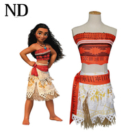 2017 Movie Moana Princess Cosplay Costme For Kids Adult Moana Dress Skirt Christmas Halloween Costume For