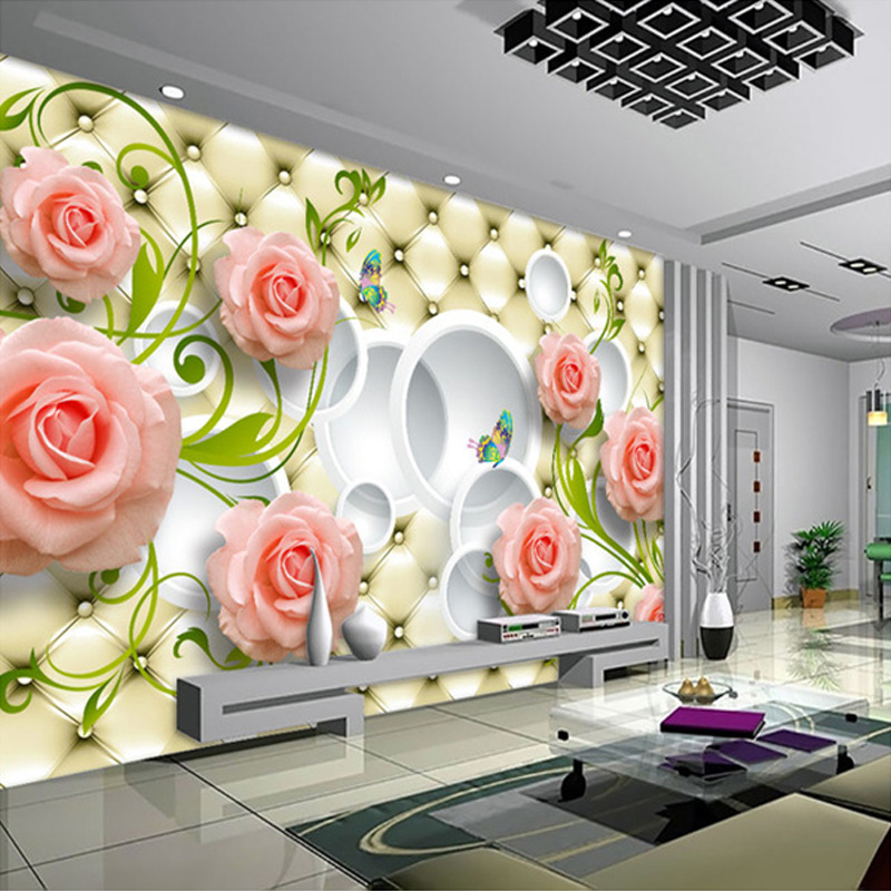 Custom photo wallpaper rose leather 3d mural wall paper for Custom mural wallpaper