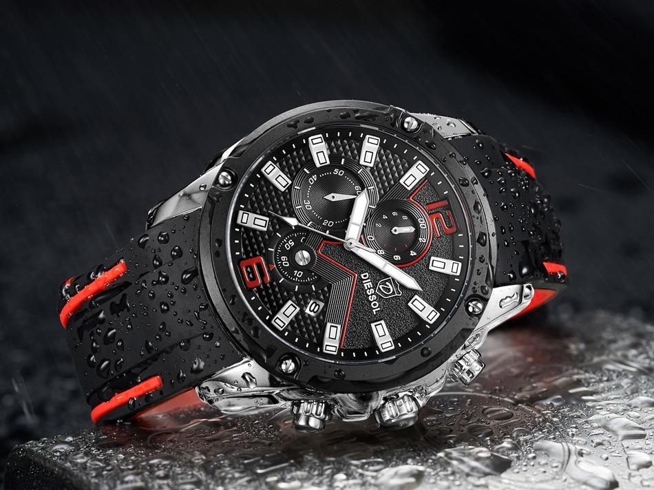 DIESSOL Men's Fashion Sports Quartz Watch Mens Watches Top Brand Luxury Rubber Band Waterproof Business Watch Relogio Masculino 28