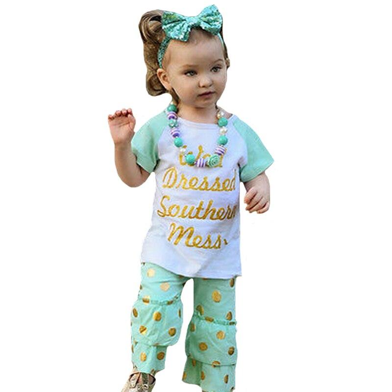38817d8274 Alta calidad niños niña ropa set verano carta camiseta + Polka Dot Pant +  Headband 3 unids GIR niños set 2017 niño princesa conjunto
