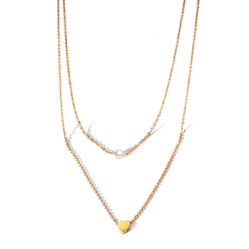 Choker Necklace For Women Long Heart With Beads Pearl Pendant Double Chain Chokers Gold Color Stainless Steel Fashion Jewelry