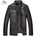 2017 New Men Genuine Leather Jacket Black/Slim/Simple/Casual/Sheepskin/Vegetable Tanned Leather Coat 15S1418