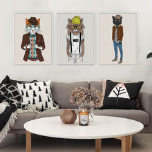 Modern Fashion Hipster Animals Cat kitty Posters Prints Nordic Living Room Wall Art Pictures Home Decor Canvas Painting No Frame(China)