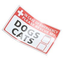 NEW Safurance  Emergency Pet Rescue DOG CAT Vinyl Sticker Label Signs Safety Warning 74*125mm Security Safety