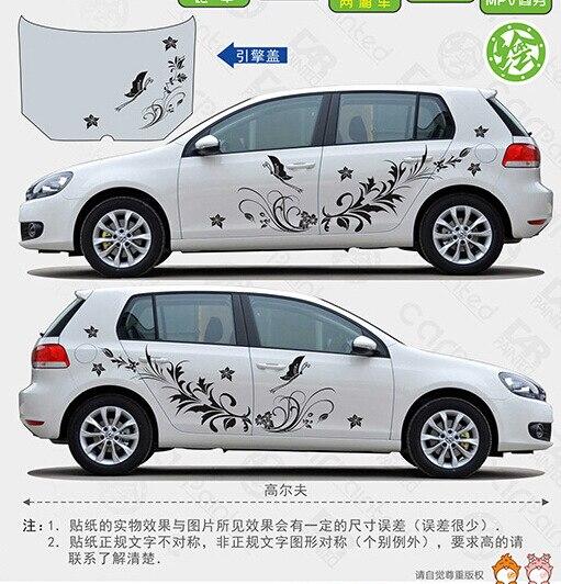 XYIVYG KK Matériau Auto Modifield Vinyle de Décalque De Voiture Autocollants, Naturel Fleur De Vigne Libellule Voiture Entière Style de Carrosserie Pour Universel