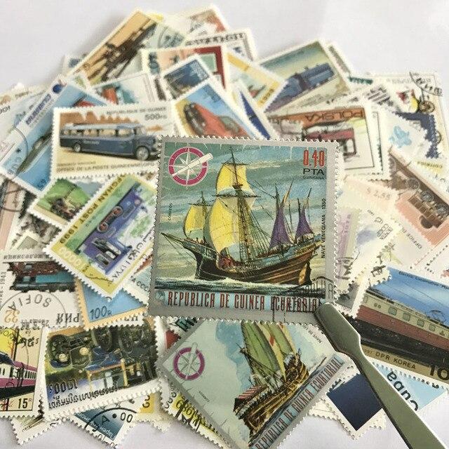 250 adet/grup Tekrar Yok Taşıma Posta Pulları Ile Posta Damgası, Araba Tren Tekneler ve Gemiler Taşıma, Koleksiyon Hediyeler