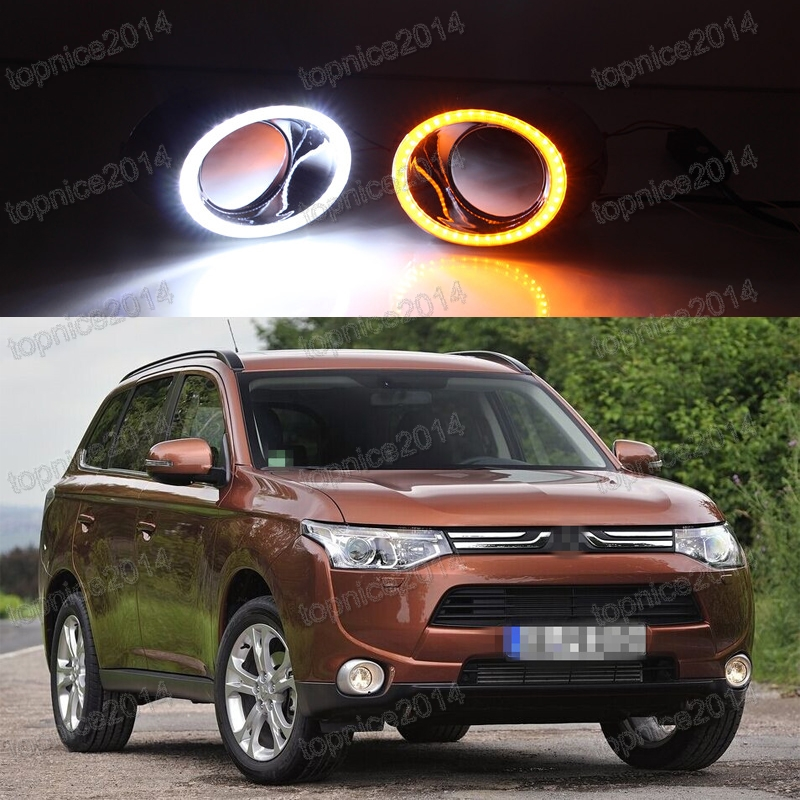 2Pcs Super Bright DRL LED Daytime Running Light Fog Driving Lamp Light With Turning Lamp For Mitsubishi Outlander 2013-2015