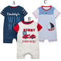 Baby Boy Summer Short Sleeve Cartoon Romper Car Ship Printed Baby Girl Cotton Jumpsuit Infant Baby Clothes High Quality